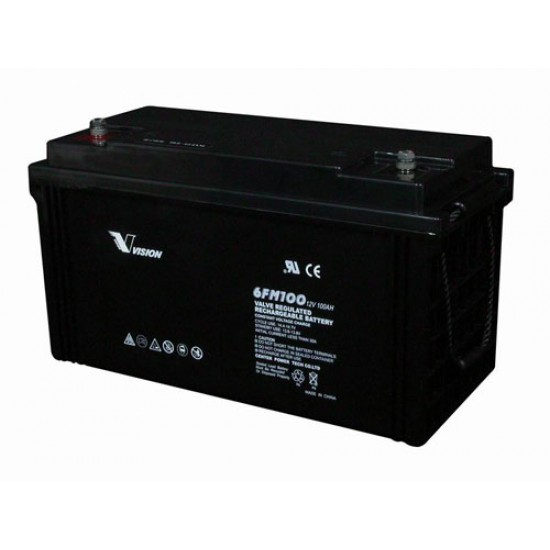 Vision 6FM100 Lead Acid battery 12V 100Ah with 10 Years Design Life