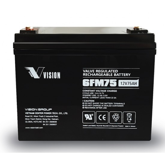 VISION  Lead Acid Battery 12V 75Ah for UPS