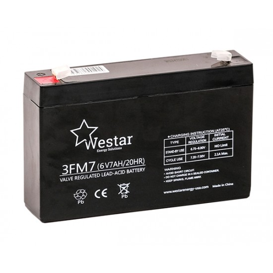 Westar Lead Acid battery FM 6V 7Ah (3FM7)