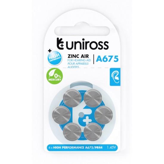 Uniross A675 zinc air Hearing Aid Blue